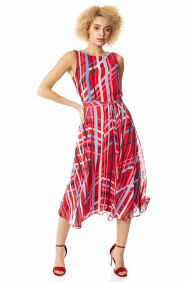 Roman Originals Women Stripe Print Fit and Flare Midi Dress - Ladies Occasionwear Daywear Summer Garden Party Cruise Wedding Guest Holiday Ascot Races Days Fit and Flare Dress - Red - Size 18