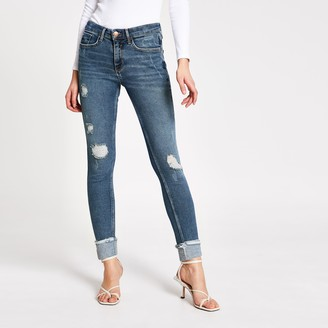 River Island Womens Blue ripped Amelie super skinny jeans