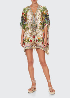 Short Floral Silk Lace-Up Kaftan