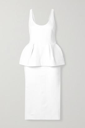 Cushnie Stretch-crepe Peplum Midi Dress - White
