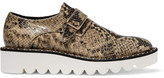 Stella McCartney Snake-effect Glossed Faux Leather Brogues - Brown