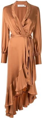 Zimmermann Super Eight ruffle satin wrap dress