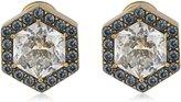 "Nicole Miller Artelier"" Hexagonal Pave Halo Stud Earrings"