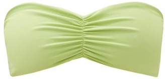 JADE SWIM Ava Strapless Gathered Bandeau Bikini Top - Light Green