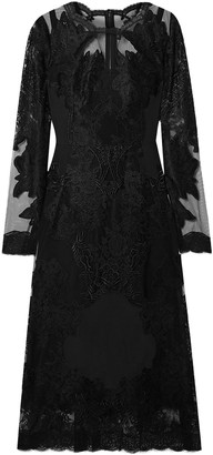 Dolce & Gabbana Embroidered Lace And Crepe De Chine Midi Dress