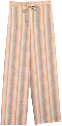 Lafayette 148 New York Columbus Stripe Wide Leg Linen Pants
