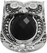 Swarovski Lavish By Tjm Lavish by TJM Sterling Silver Onyx & Crystal Owl Ring - Made with Marcasite