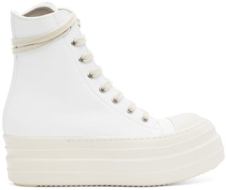 Rick Owens White Bumper Lace-Up Sneakers