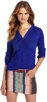 Amy Byer A. Byer Juniors Shirt Long Sleeve Roll Tabmandarin CLR Patch Packet Hi-Low Hem