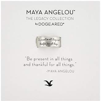 "Dogeared Maya Angelou"" Be Present In All Things Sterling Engraved Band Ring"
