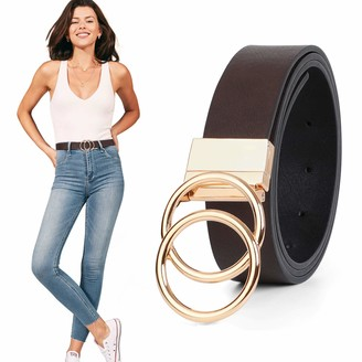Werforu Women's Leather Belt Reversible Waist Belts with Metal Buckle Gold Double O Ring Rotate Buckle Fashion Casual Jeans Pants Dress Belt