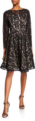 Shani Two-Tone Bateau-Neck Bracelet-Sleeve Fit-&-Flare Lace Dress