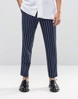 Asos Slim Cropped Pant In Pinstripe