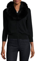 Milly V-Neck Wool Cardigan w/ Fox Fur Collar, Black