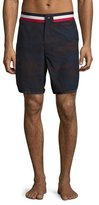 Moncler Camouflage Tricolor-Band Swim Trunks, Navy