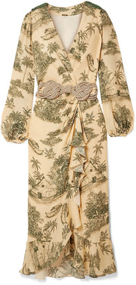 Johanna Ortiz Al Son Del Tambor Embellished Printed Silk Crepe De Chine Midi Wrap Dress