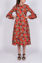 Traffic People Red Floral Midi Dress