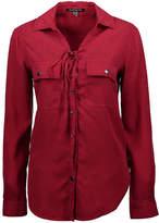 Elliott & Vine Women's Button Down Shirts Red - Red Lace-Up Tencel Top - Women & Plus