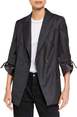 Brunello Cucinelli Ribbon-Sleeve Wool Boyfriend Blazer