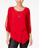 Amy Byer Juniors' Cold-Shoulder Tiered Blouse