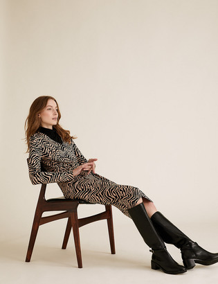 Marks and Spencer Zebra Print V-Neck Midi Tailored Dress