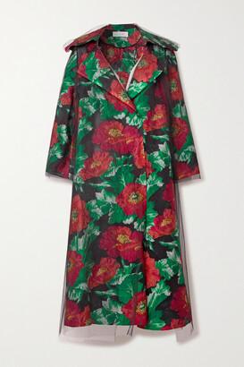 Oscar de la Renta - Floral Brocade And Tulle Coat - Black