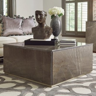Global Views Graffito Marble Coffee Table with Tray Top
