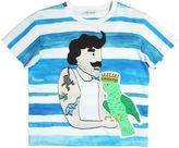 Dolce & Gabbana Parrot & Man Print Cotton Jersey T-Shirt