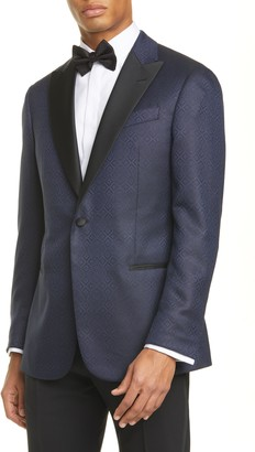 Emporio Armani G Line Trim Fit Geometric Wool & Silk Dinner Jacket