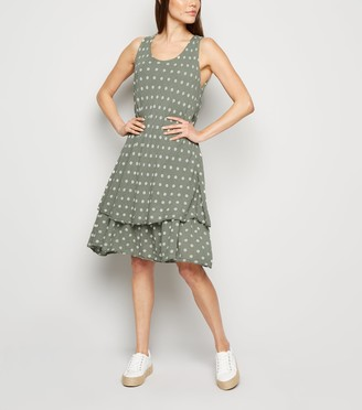 New Look Blue Vanilla Polka Dot Layered Dress