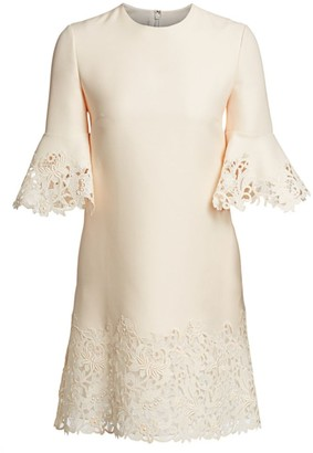 Valentino Wool & Silk Flutter Sleeve Lace Dress