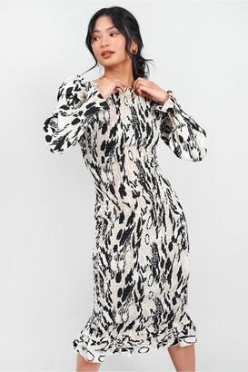 Little Mistress Shirred BodyCon Midi Dress