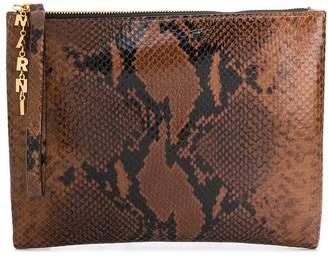 Marni embossed snakeskin print clutch