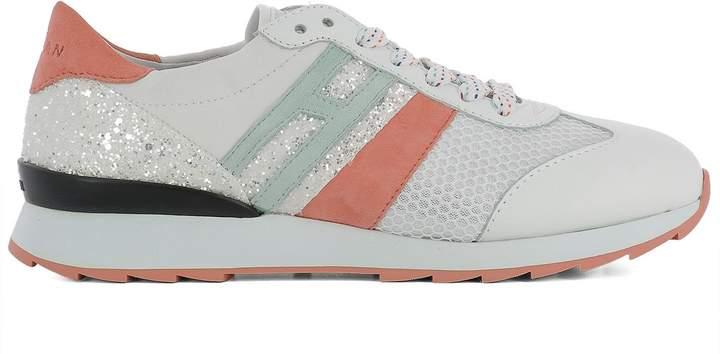 Hogan White Fabric Sneakers