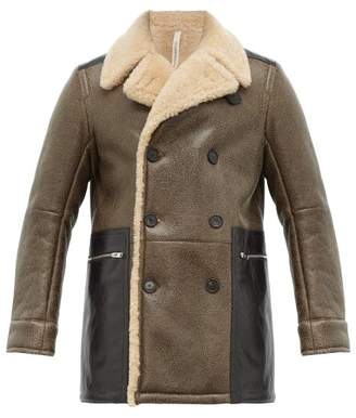 Aldo Maria Camillo - Double Breasted Shearling Lined Leather Peacoat - Mens - Brown