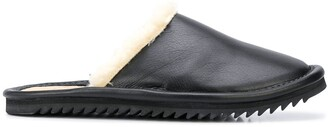 Julien David Leather Shearling Slippers