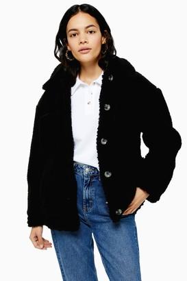 Topshop Womens Black Borg Jacket - Black