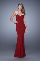 La Femme 21221 Embroidered V-neck Trumpet Dress
