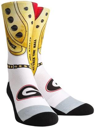 E.m. Unbranded Men's Rock Socks White Georgia Bulldogs Savage Pads Localized Graphics Crew Socks