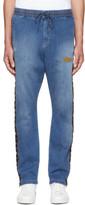 Wheir Bobson Blue Denim Side Line Track Pants