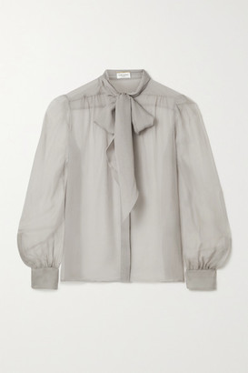 Saint Laurent Pussy-bow Silk-georgette Blouse - Light gray