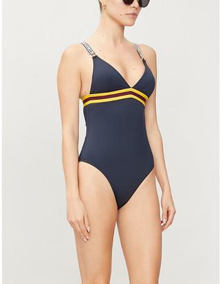 Stella McCartney Sporty striped-trim triangle swimsuit
