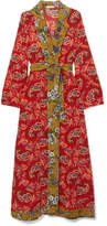 Anjuna - Selene Bead-embellished Printed Silk Crepe De Chine Robe - Claret