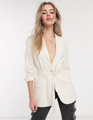 Bershka tie-waist blazer in light ecru