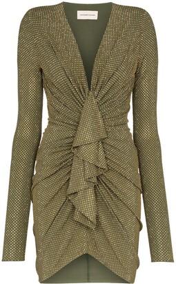 Alexandre Vauthier deep V-neck gemstone mini dress