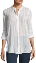 Vince Split-Neck Button-Up Top, White Pattern
