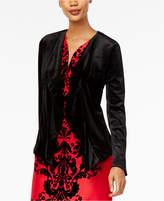 NY Collection Velvet Open-Front Blazer