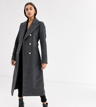 Glamorous Tall double breasted coat with tie waist