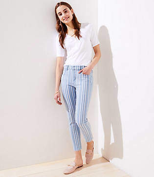 LOFT Petite Striped Skinny Crop Jeans