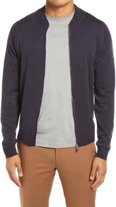 John Smedley Slim Fit Knit Merino Wool Bomber Jacket